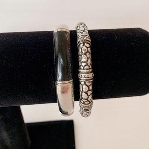 Lia Sophia Black and Silver Stretch Bracelets